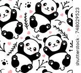 cute cartoon panda seamless... | Shutterstock .eps vector #748029523