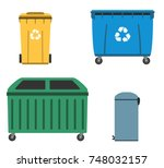 thrash and recycling can.... | Shutterstock .eps vector #748032157