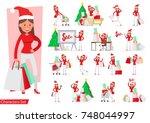 set of shopping women... | Shutterstock .eps vector #748044997