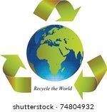 green arrows around the world... | Shutterstock . vector #74804932
