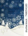 christmas party invitation.... | Shutterstock . vector #748054183