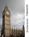 Big Ben on Westminster Palace in London - stock photo