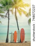 surfboard and palm tree on... | Shutterstock . vector #748072237