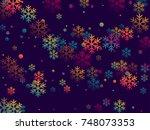 futuristic snow flakes falling... | Shutterstock .eps vector #748073353
