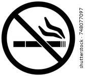 no smoking sign black and white.... | Shutterstock .eps vector #748077097