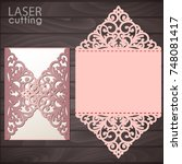laser cut wedding invitation... | Shutterstock .eps vector #748081417