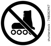 no roller blading sign black... | Shutterstock .eps vector #748082947