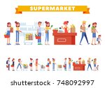 people shopping in supermarket... | Shutterstock .eps vector #748092997