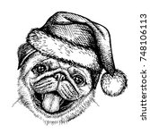 sketch dog in santa claus hat.... | Shutterstock .eps vector #748106113