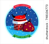 merry christmas and happy new... | Shutterstock .eps vector #748106773