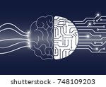 vector brain and circuit board  ... | Shutterstock .eps vector #748109203