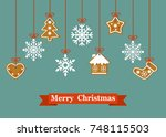 christmas card with hanging... | Shutterstock .eps vector #748115503