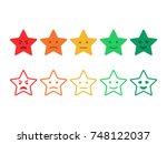 feedback emoticon stars. survey ... | Shutterstock .eps vector #748122037