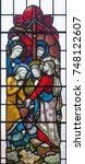 Small photo of LONDON, GREAT BRITAIN - SEPTEMBER 19, 2017: The Christ Calling Peter and Andrew on the stained glass in St Mary Abbot's church on Kensington High Street.