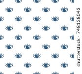 blue human eyes icons seamless... | Shutterstock .eps vector #748128043