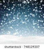 blue winter landscape... | Shutterstock .eps vector #748129207