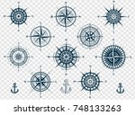 Stock vector set of wind roses silhouettes isolated on transparent background compass vector illustrations 748133263
