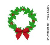 christmas wreath. decoration.... | Shutterstock .eps vector #748152397