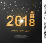 happy new year 2018 background... | Shutterstock .eps vector #748163323