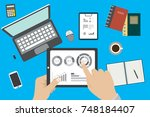analytic research  report on... | Shutterstock . vector #748184407