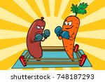 vegetarianism vs meat eating ... | Shutterstock .eps vector #748187293