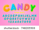 vector artistic rounded font... | Shutterstock .eps vector #748205503
