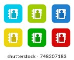 set of rounded square colorful... | Shutterstock . vector #748207183