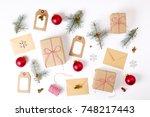 christmas  happy new year... | Shutterstock . vector #748217443
