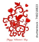 happy valentine's day greeting... | Shutterstock . vector #748218823