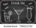 set of cocktail icon. drink me. ... | Shutterstock .eps vector #748221763