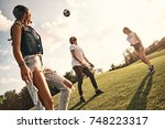 weekend fun  group of young... | Shutterstock . vector #748223317