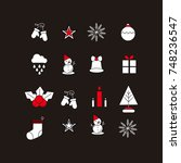 christmas icons | Shutterstock .eps vector #748236547