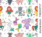 funny seamless pattern with... | Shutterstock . vector #748243717