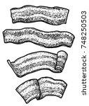 bacon illustration  drawing ... | Shutterstock .eps vector #748250503