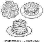 waffle  pancake illustration ... | Shutterstock .eps vector #748250533