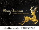 christmas reindeer gold card | Shutterstock .eps vector #748250767