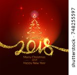 christmas and happy new year... | Shutterstock .eps vector #748255597