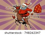 santa claus rides on deer. new... | Shutterstock .eps vector #748262347