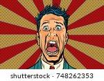 pop art man screams in horror ... | Shutterstock .eps vector #748262353