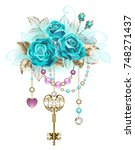 Antique Gold Key With Trendy...