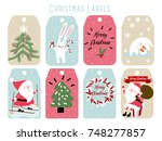 christmas labels and decoration | Shutterstock .eps vector #748277857