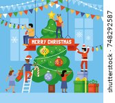 christmas holiday concept.... | Shutterstock .eps vector #748292587