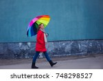 happy woman with colorful... | Shutterstock . vector #748298527