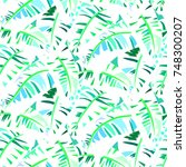 bold abstract jungle print with ... | Shutterstock .eps vector #748300207