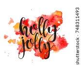 christmas lettering hand drawn ... | Shutterstock .eps vector #748311493