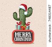merry christmas illustration... | Shutterstock .eps vector #748314487