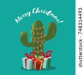 merry christmas illustration... | Shutterstock .eps vector #748314493