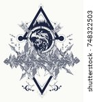 eagle tattoo art  mountains ... | Shutterstock .eps vector #748322503
