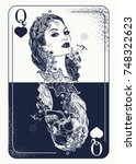 queen playing card tattoo and t ... | Shutterstock .eps vector #748322623