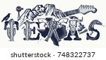 texas tattoo and t shirt design.... | Shutterstock .eps vector #748322737